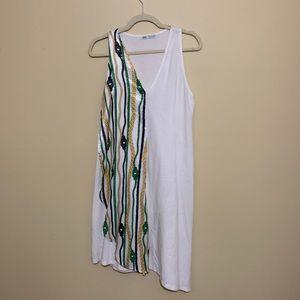 Zara White Tank Dress, Silk Nautical Overlay